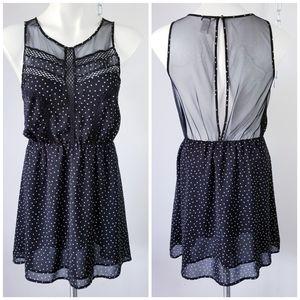 4/$20 F21 Sheer Polka Dot Keyhole Mini Dress M